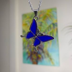 butterfly mood pendant silver chain necklace